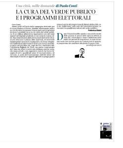 Cura del verde e programmi elettorali Corriere della sera 14 gen. 2016